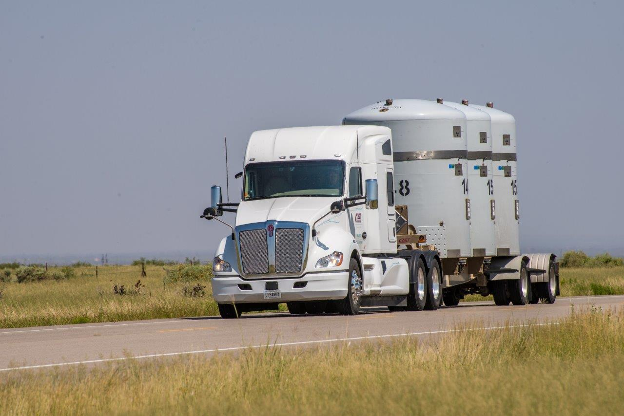 Photo of WIPP Semi hauling TRU-PACTs.